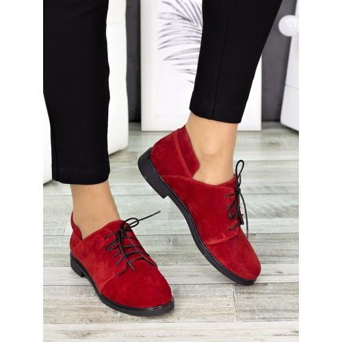 Женские туфли красные замшевые 7258-28