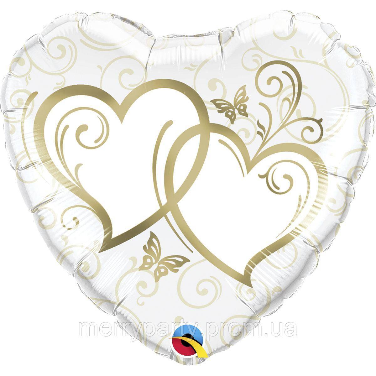 """Сердца золото 18"""" (45 см) сердце Qualatex США шар фольгированный"""