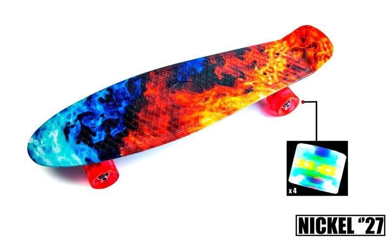 "Скейт - Пенниборд светящиеся колеса Penny Board Nickel 27"" ""Fire and Ice"""