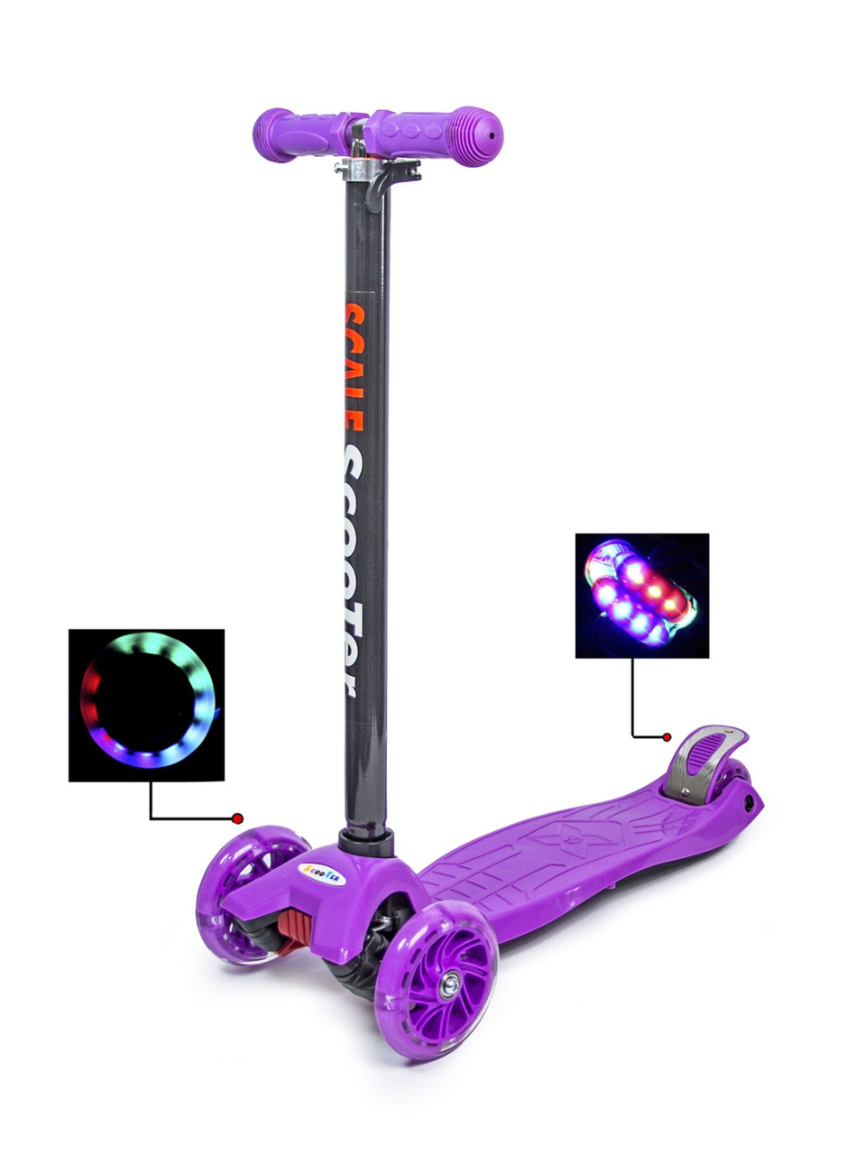 Детский самокат со светящиеся колеса MAXI Scale ScooTer Violet