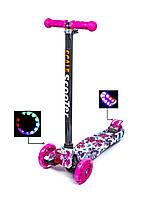 Детский самокат Scale ScooTer MAXI. Flowers 2. Светящиеся малиновые колеса!