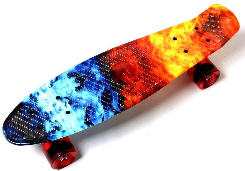 "Скейт - пенниборд с рисунком Penny Board ""Огонь и лед"""