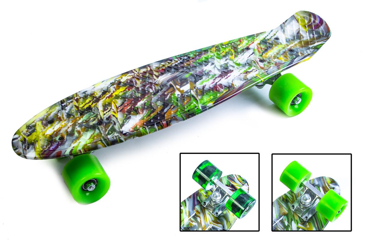 "Скейт - пенниборд с рисунком Penny Board ""Green cane"""
