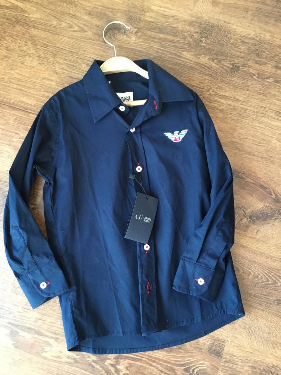 Модная рубашка для мальчика в темно-синем цвете
