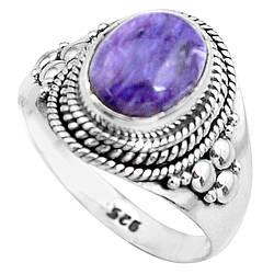 Серебряное кольцо с чароитом, 2295КЦЧ