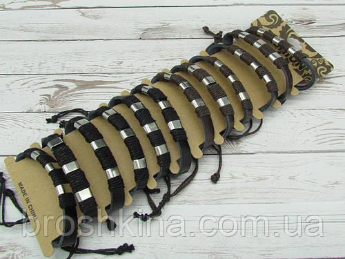 Мужские плетенные браслеты эко-кожа 12 шт/уп.