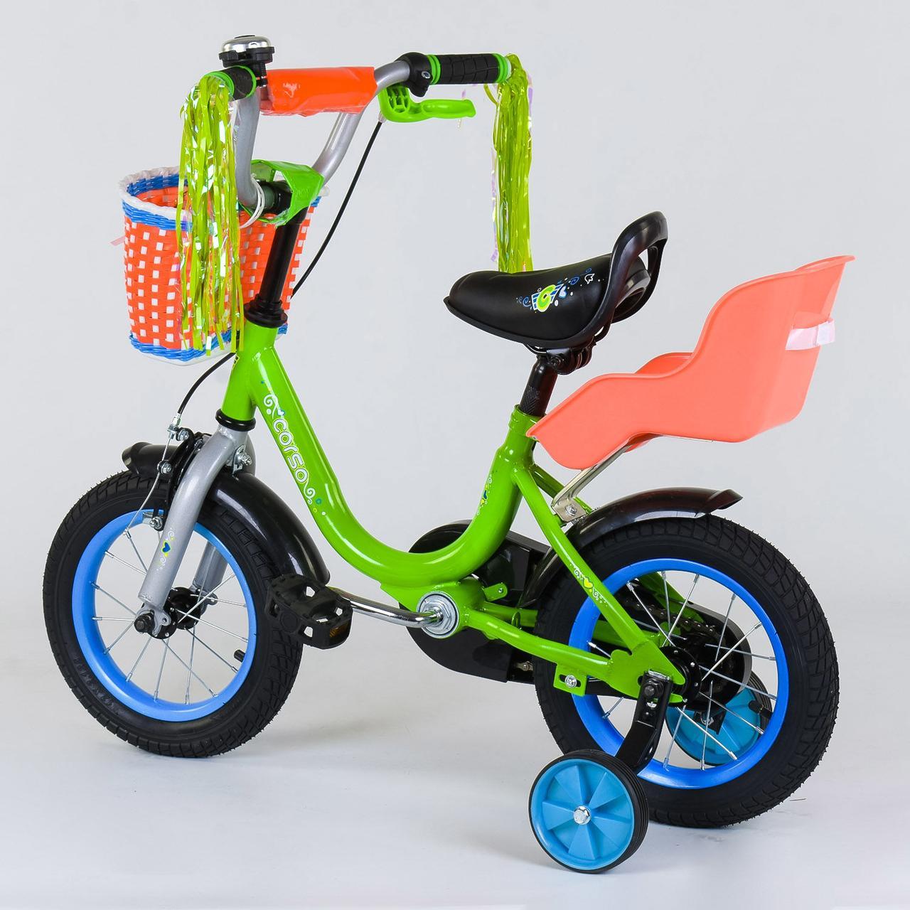 Велосипед 12 дюймов 2х колёсный CORSO 1204 ручной тормоз звоночек сидение с ручкой доп. колеса