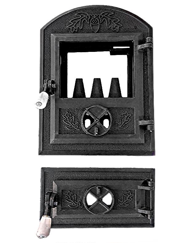 Печная дверца со стеклом 450х333мм, чугунные дверки для печи и барбекю 102011