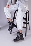 Ботинки черные кожаные на шнуровке демисезонные, фото 3