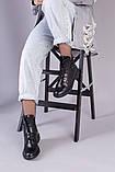 Ботинки черные кожаные на шнуровке демисезонные, фото 6