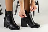 Демисезонные женские ботинки, кожаные, цвет - черный, на байке, с замочками, на небольшом каблуке, фото 3
