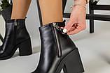 Демисезонные женские ботинки, кожаные, цвет - черный, на байке, с замочками, на небольшом каблуке, фото 7