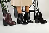 Демисезонные женские ботинки, кожаные, цвет - черный, на байке, с замочками, на небольшом каблуке, фото 10