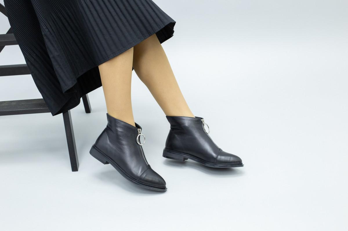 Демисезонные женские черные кожаные ботинки