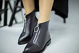 Демисезонные женские черные кожаные ботинки, фото 9