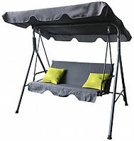 Садовая качеля с подушками стальная прочная с навесом от солнца с нагрузкой до 200 кг серая