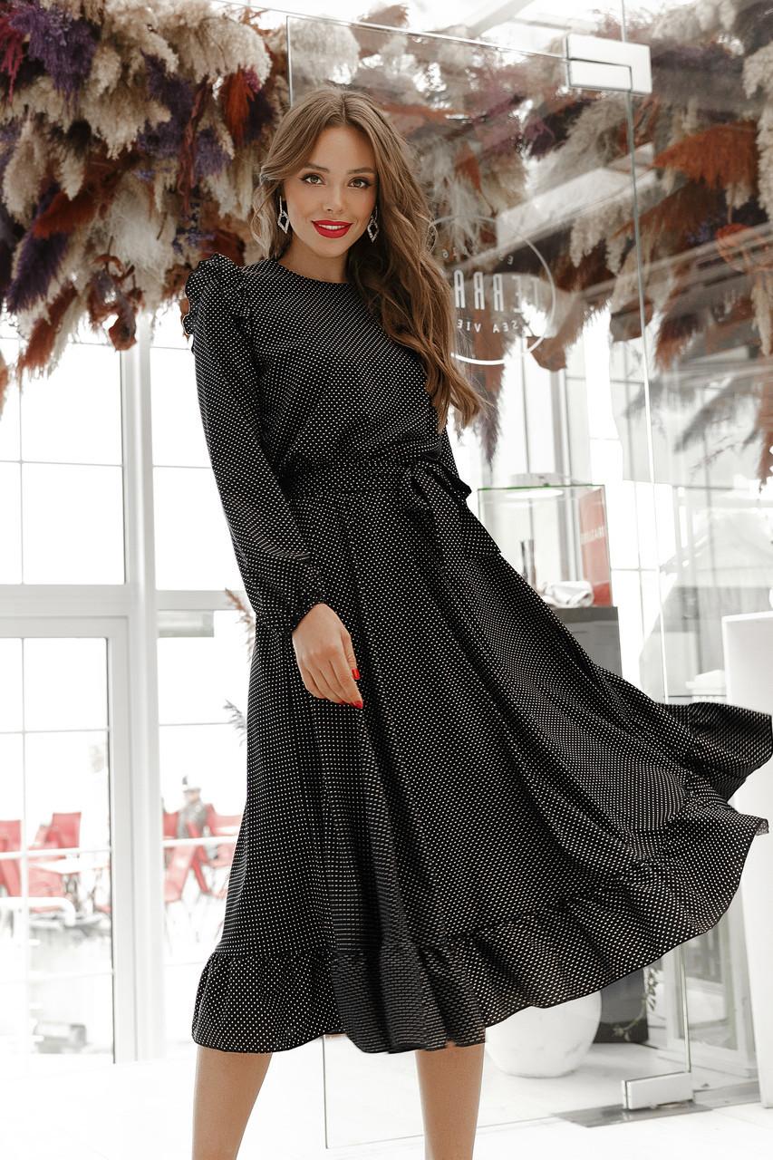 Платье женское с рюшиками в горох Черный