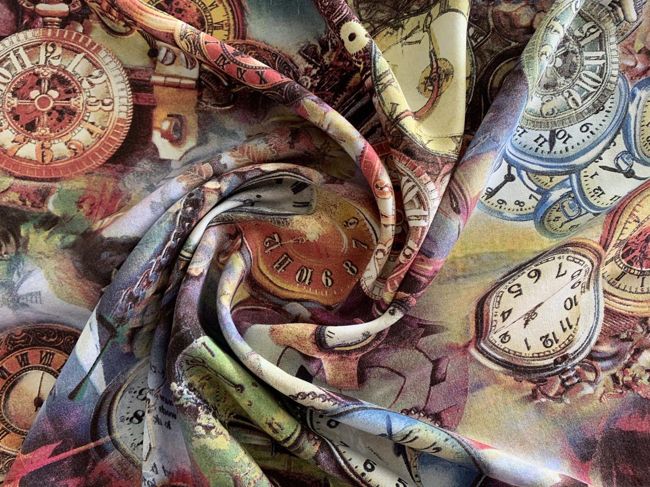 Штапель плотный часы, серо-коричневый