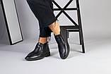 Демісезонні шкіряні лофери чорні на чорній підошві, фото 3
