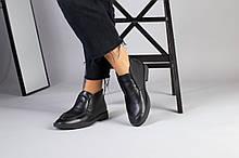 Демисезонные кожаные лоферы черные на черной подошве