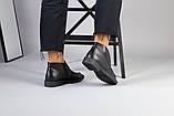 Демісезонні шкіряні лофери чорні на чорній підошві, фото 9
