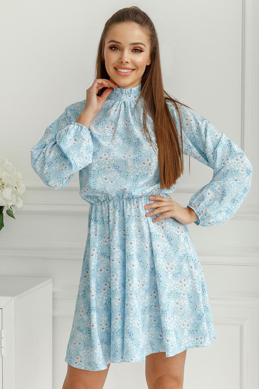 Женское платье в мелкий цветочек Нежно-голубой