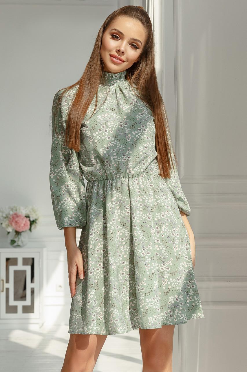 Женское платье в мелкий цветочек Фисташковый
