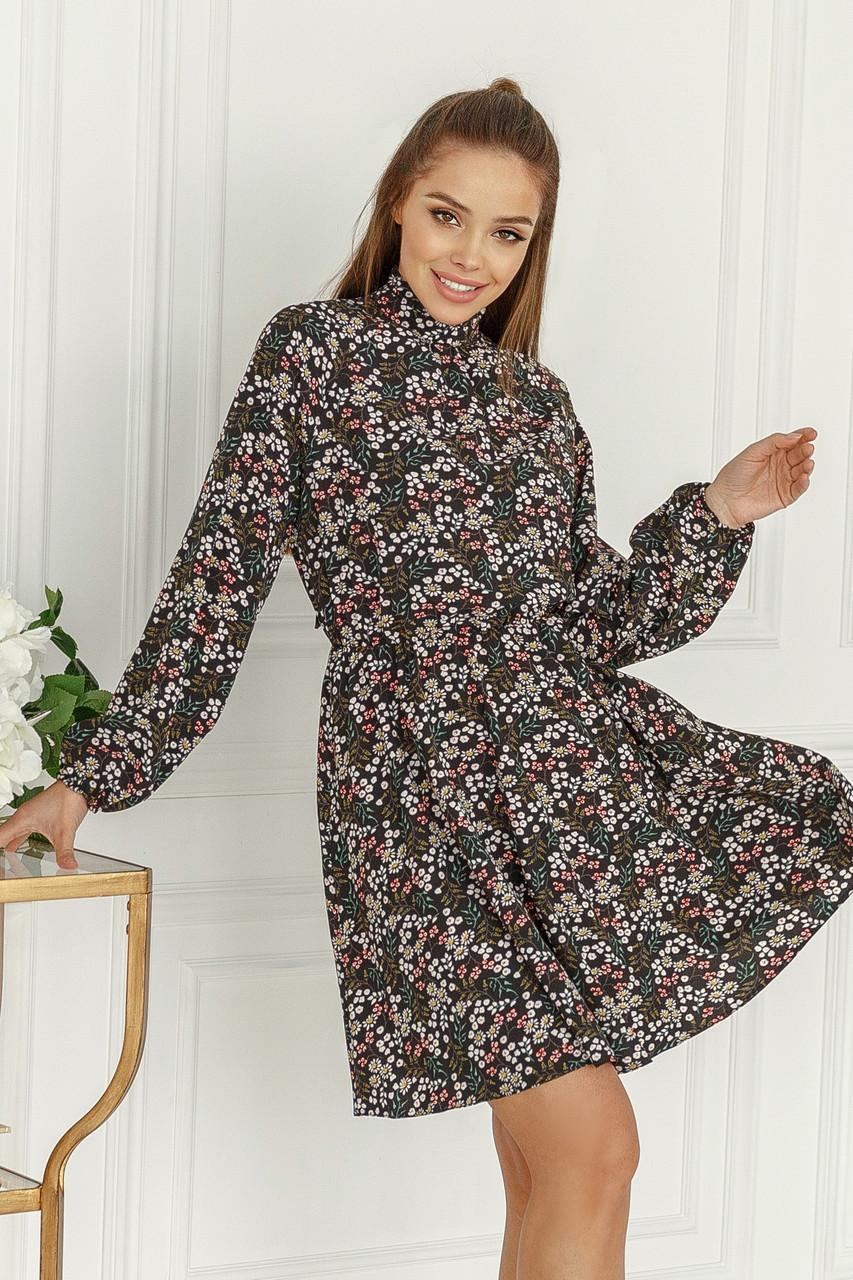 Женское платье в мелкий цветочек Черный