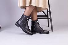 Демисезонные черные кожаные ботинки