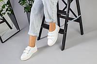 Женские белые кеды на липучках, фото 1