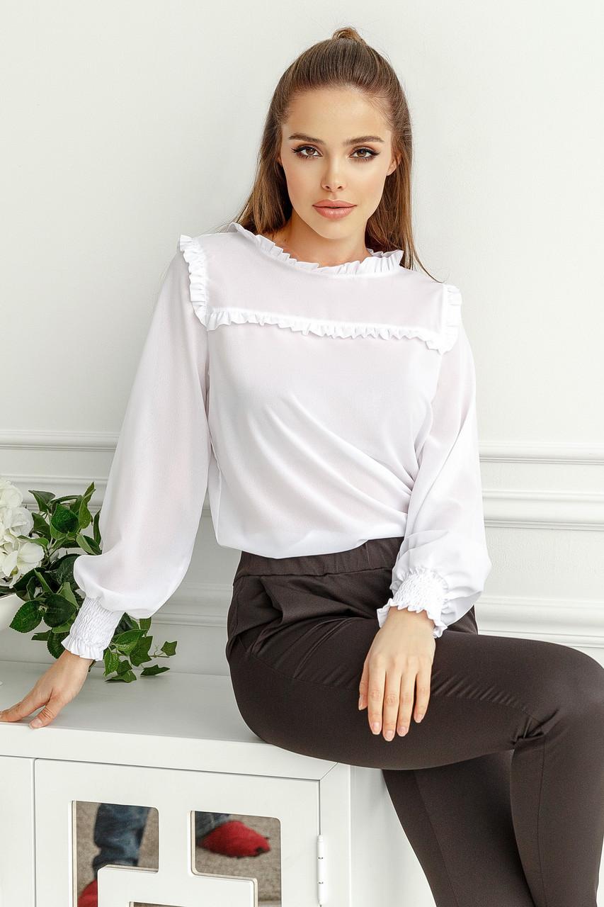 Женская блуза с рюшиками Белый