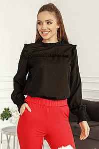 Женская блуза с рюшиками Черный