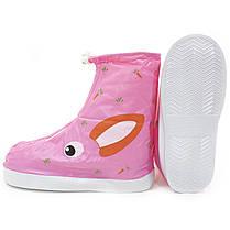 Детские резиновые бахилы Lesko на обувь от дождя Кролик розовый размер L многоразовые от грязи снега слякоти, фото 3