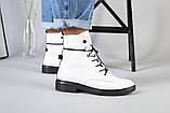 Женские демисезонные белые кожаные ботинки, фото 3