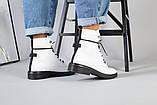 Женские демисезонные белые кожаные ботинки, фото 4