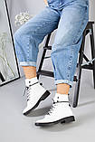 Женские демисезонные белые кожаные ботинки, фото 6