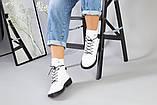 Женские демисезонные белые кожаные ботинки, фото 2