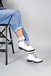 Женские демисезонные белые кожаные ботинки, фото 8