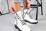 Женские демисезонные белые кожаные ботинки, фото 9