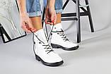 Женские демисезонные белые кожаные ботинки, фото 10