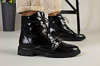 Женские демисезонные черные ботинки кожа наплак, фото 1