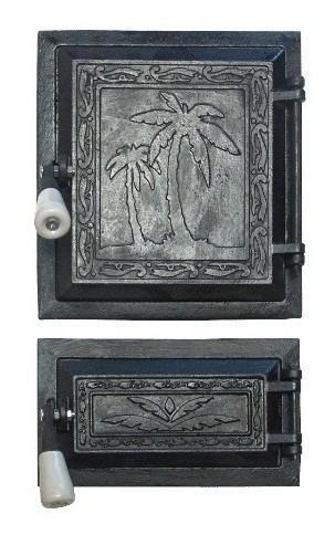Пічна дверцята зі склом 270х250, чавунні дверцята для печі барбекю 102017