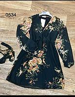 Молодежное платье шифоновое для девушек с цветами 44-50,черного цвета