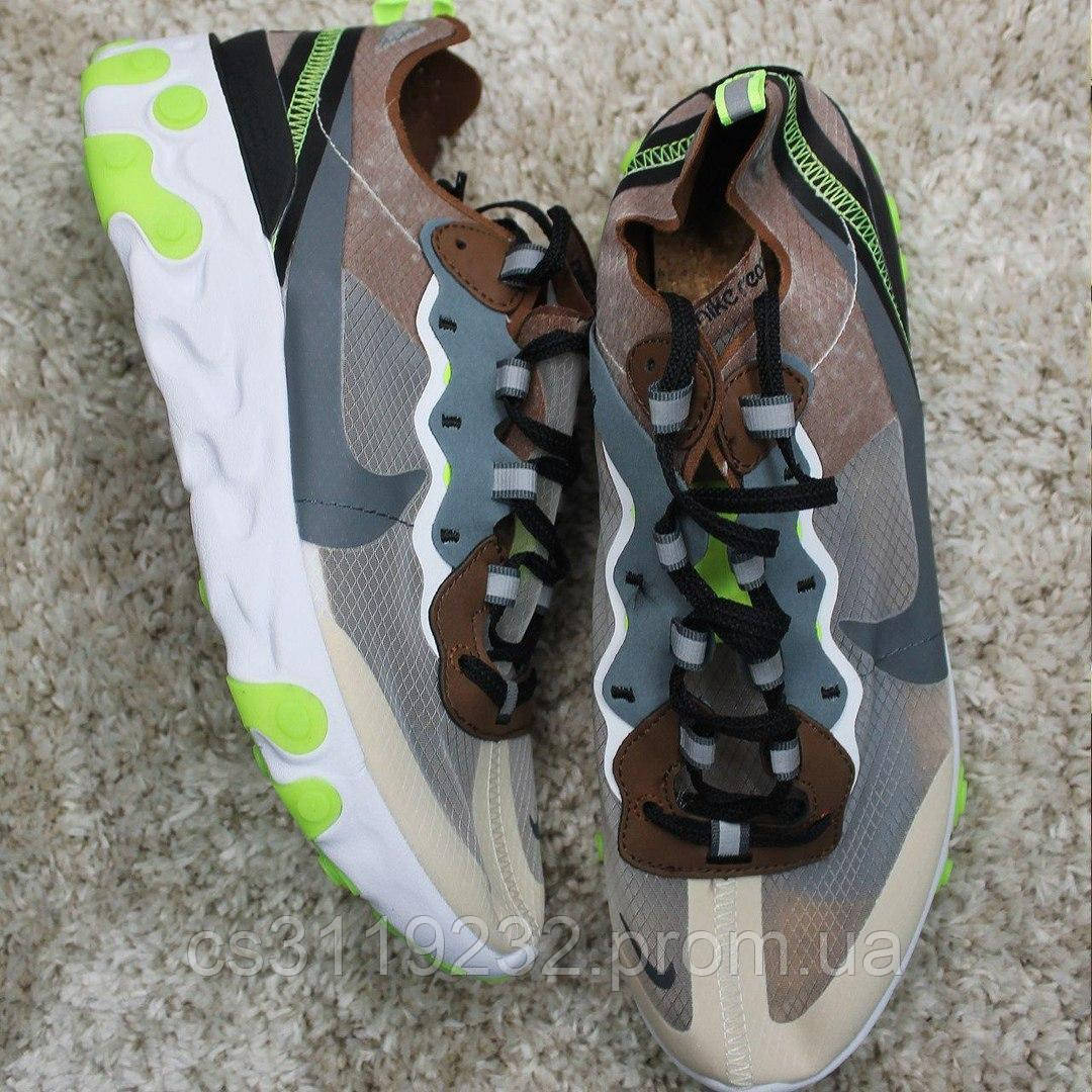 Чоловічі кросівки Nike React Element 87 Gray Brown Green (сірий/коричневий/зелений)