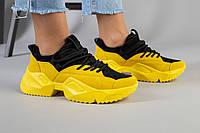 Женские замшевые кроссовки на масивной подошве, желтый с черным, фото 1
