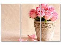 Модульная картина IDEAPRINT Розовые розы в горшке