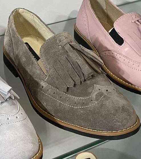 Женские замшевые туфли с кисточкой, капучино замш