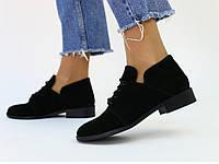 Женские замшевые черные туфли, фото 1