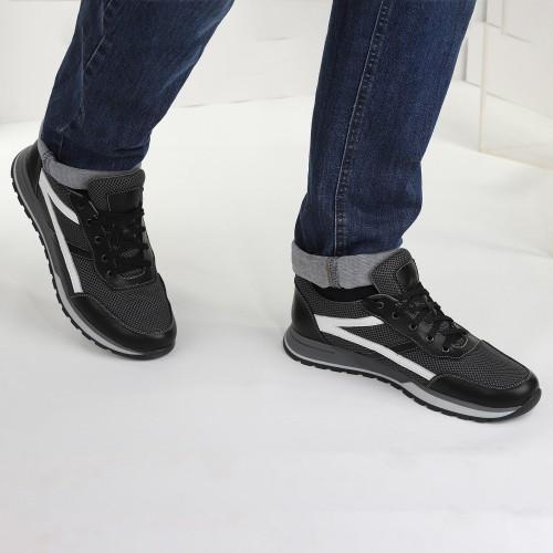 Темные мужские кроссовки из обувной сетки с кожаными вставками