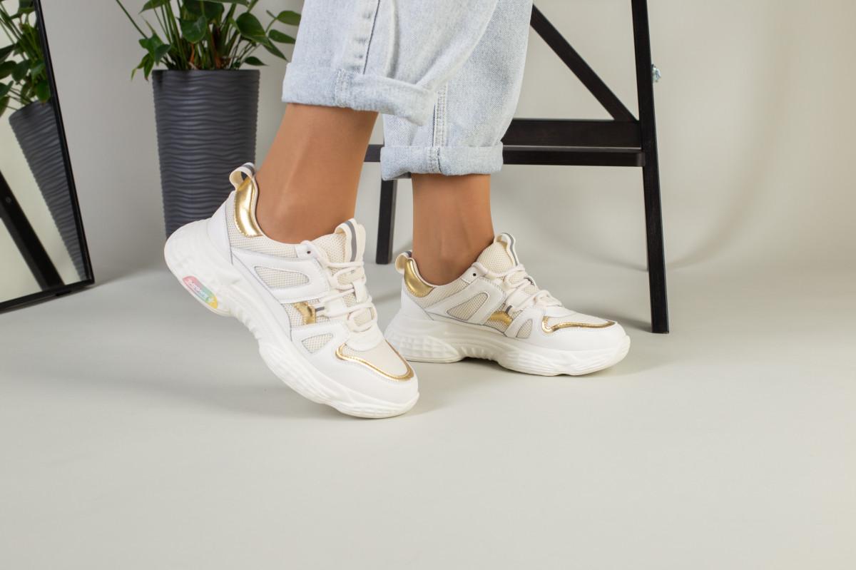 Женские кожаные светло-бежевые кроссовки с вставками сетки на масивной подошве